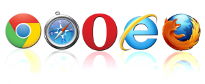 Different logos of web browsers