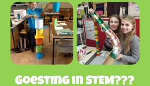 Two photos of STEM activity and title of greed for voice