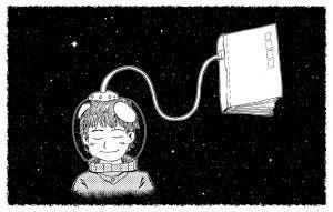 ruimtemannetje dat aan een boek vasthangt