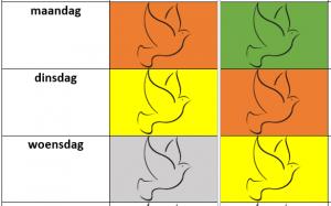 screenshot van kalender: 3 weekdagen met gekleurde vogels