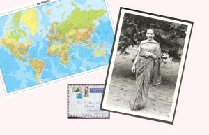voorpagina met wereldkaart en foto van Jeanne Devos
