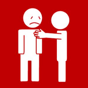 picto waar bij persoon andere persoon aanraakt