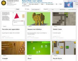 De homepage van RekenWeb voor tablet.