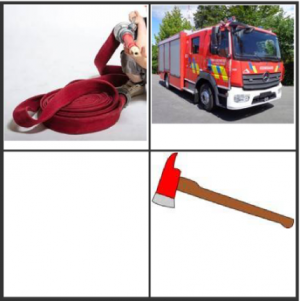 deeltje van sudoku : bijl, brandslang, brandweerwagen