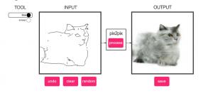 Schermopname website - tekening en foto van kat