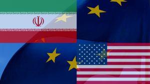 Vlaggen: Iran en VS