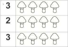 Werkblad met paddenstoelen tellen tot 3