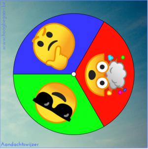 cirkel met drie kleuren en drie emoji's: blauw, rood, groen