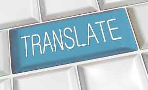 Toets op het toetsenbord met het opschrift translate