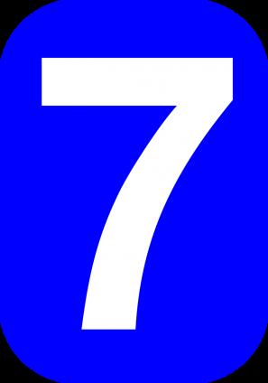 zeven in blauwe rechthoek