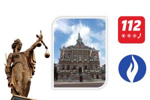 stadhuis, vrouwe justitia, logo politie, logo 112