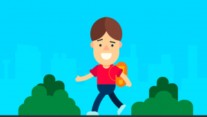 jongen die met boekentas naar huis wandelt