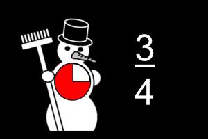 Sneeuwman met in buik voorstelling van breuk 3/4