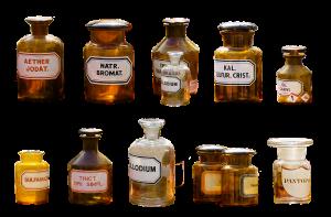 flessen met vloeistoffen voor in labo