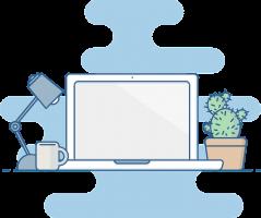 Tekening van laptop op bureau naast bureaulamp, tas en plant