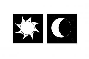 Picto van maan en zon