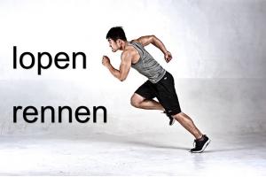 foto van loper met tekst: rennen = lopen