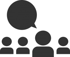 pictogram van een pratende persoon en drie personen in publiek