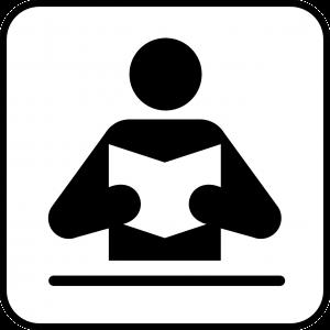 Figuurtje dat aan het lezen is