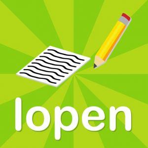 Het logo van de app. Een blad en een potlood op een groene achtergrond.