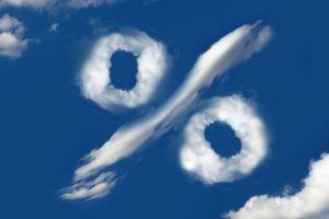 procentteken in de wolken