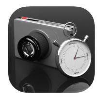 Het logo van iMotion. Een stopwatch en een compacte camera.