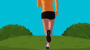 Tekening van in de natuur joggende persoon