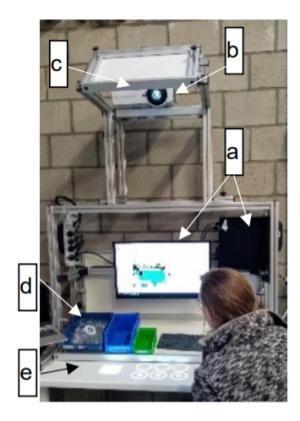 Leerling aan computer met projectiesysteem