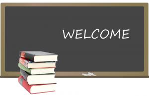 Krijtbord met het opschrift Welcome