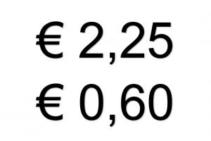 €2,25 en € 0,60