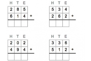 vier cijferoefeningen cijferend optellen