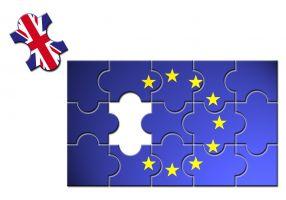 Puzzel waarbij het VK uit de Europese puzzel valt