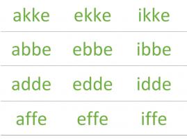 stukje uit affiche met woordstukjes akke, ekke, ikken, abbe, ebbe, ibbe, ...