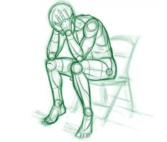 Getekend mannetjes op stoel met hoofd in handen