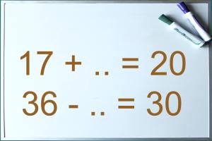 witbord met oef. 17+...=20  en 36-..=30