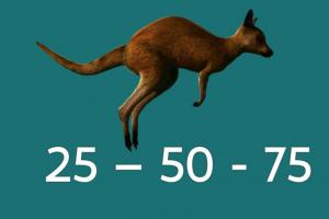 kangoeroe springt met sprongen van 25