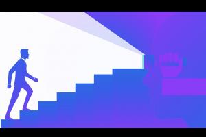 mannetje dat trap opwandelt