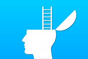 hoofd met ladder die uit hersenpan komt