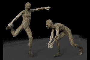 twee voetbalspelers gemaakt uit hout