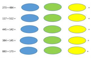 screenshot uit werkblad : plusoefeningen tot 1000 met achter elke oefening drie cirkels