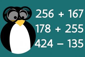 pinguïn naast optellingen en aftrekkingen tot 1000 met brug