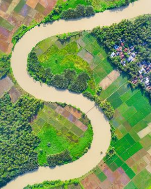 meandering river in landscape
