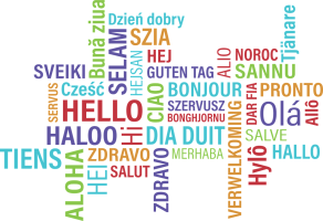 A wordcloud with 'hello' in different languages