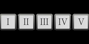 romeinse cijfers I II III IV en V