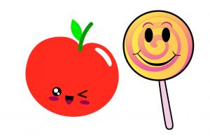 appel met gezicht en lolly met gezicht