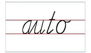 Het woord auto in schrijfletters