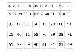 Oefensjabloon getallen t.e.m. 100