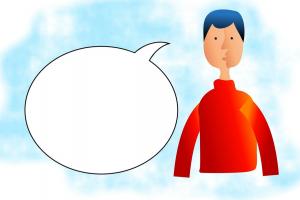 tekeningen van een tekstballon naast een jongen