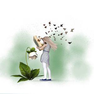 Meisje met bloem en boek