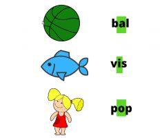 Blad met korte klanken bal, vis en pop.